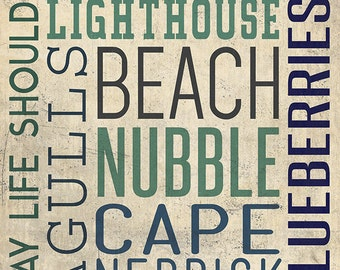 Nubble - Maine - Typography (Art Prints available in multiple sizes)