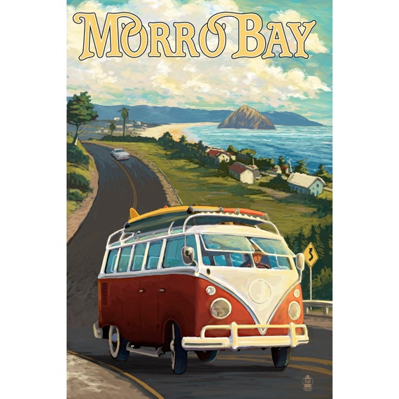 Greetings From California VW Camper Bus Poster in Black Wood Frame 24x36