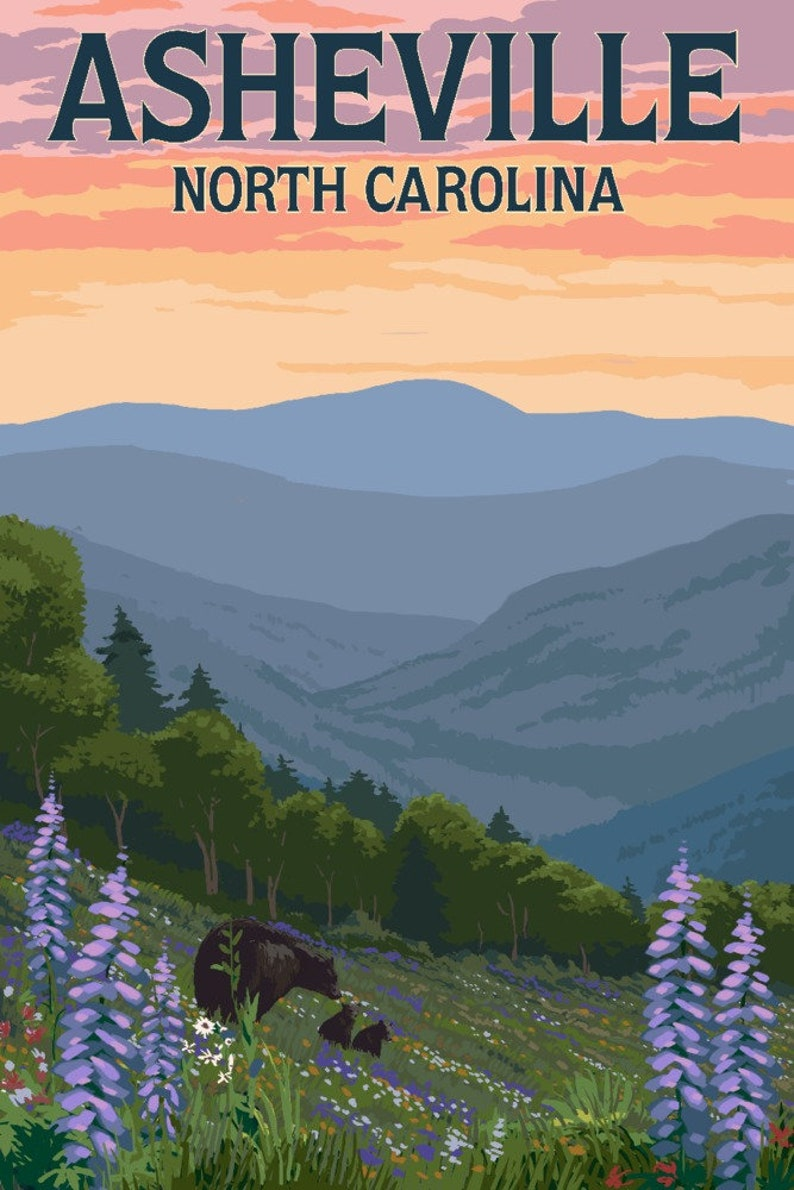 Asheville North Carolina  Bears and Spring Flowers Art image 0