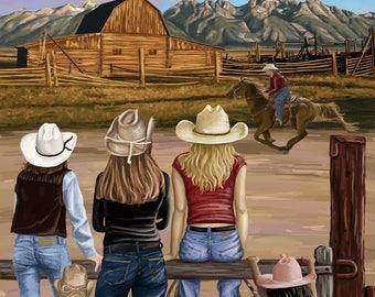 Estes Park, Colorado - Cowgirls - Lantern Press Artwork (Art Print - Multiple Sizes Available)