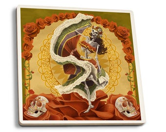 Day of the Dead - Skeleton Dancing - LP Artwork (Set of 4 Ceramic Coasters)