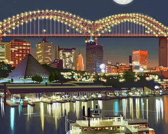 Memphis, Tennessee - Memphis Skyline at Night (Art Prints available in multiple sizes)
