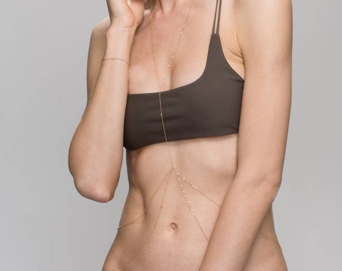Y Lariat Body Chain - Beach summer body jewelry // Double Waist Chain Body Chain in gold filled and silver / delicate body chain EC003
