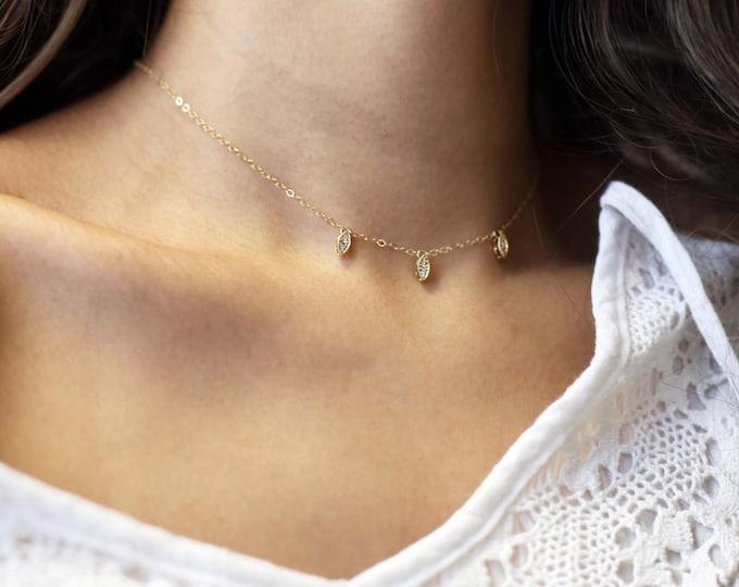 Oval CZ Dangle Choker Necklace // Dainty Choker // Dainty Necklace //EC24