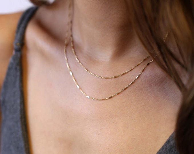 simple and delicate thin wrap Chain Necklace in gold filled or sterling silver //Shinny Double chain layered necklace