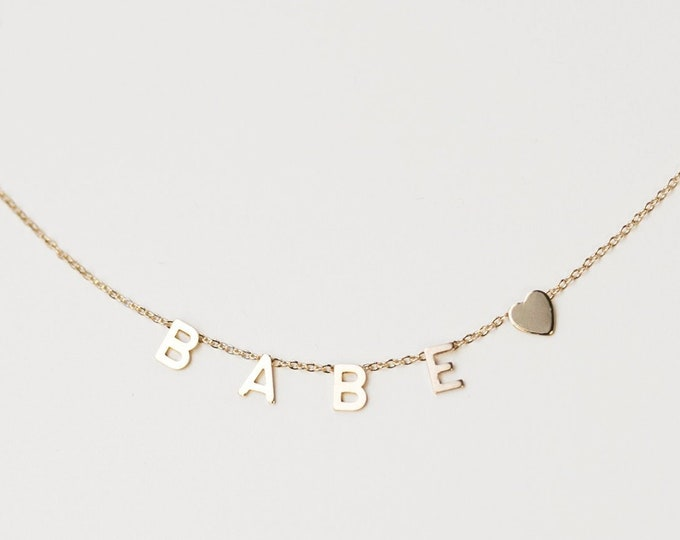 Featured listing image: 14K Gold Name necklace / Name letter necklace / Personalized 14K solid gold initials necklace / Valentine's day gift