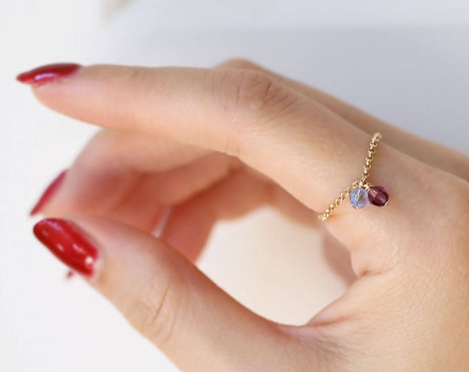 Birthstone Rings // Chain rings . Birthstone chain rings .Mothers ring // Everyday stacking rings // July's Birthstone: Ruby / Gift for wife