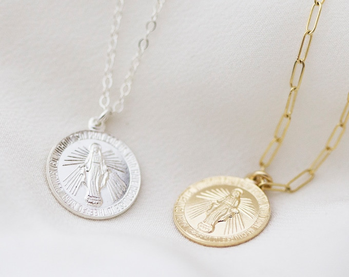 Virgin Mary Necklace / Religious Catholic Necklace / Virgin Mary Round disc / Pray for Mary Medallion Virgin Religious Pendant Charm