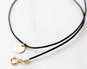 Mini Disc Leather Choker / Personalized initial choker in gold filled // Monogram short necklace // custom gothic necklace //  EC18