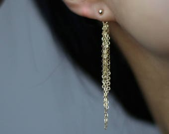 Diamond Cubic Zirconia Stud Earrings with Super Sparkly Gold Tassel // Tiny CZ earrings and Simple Ball earrings Gold filled Sterling silver