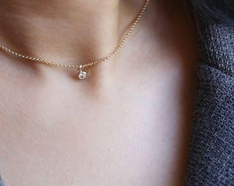 Minimalist CZ diamond necklace // Simple small Cubic Zirconia dangle short necklace // Elegant everyday necklace