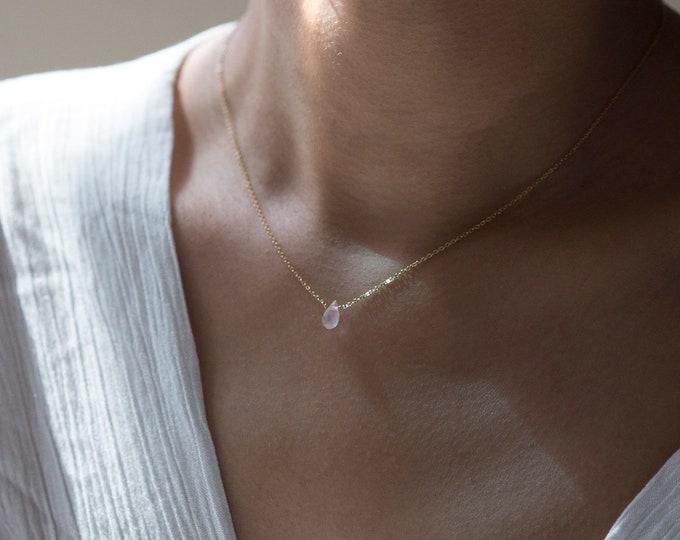 Natural Rose quartz Necklace / Light pink crystal bead necklace / short necklaces / Tiny quarts necklace gold filled and sterling silver
