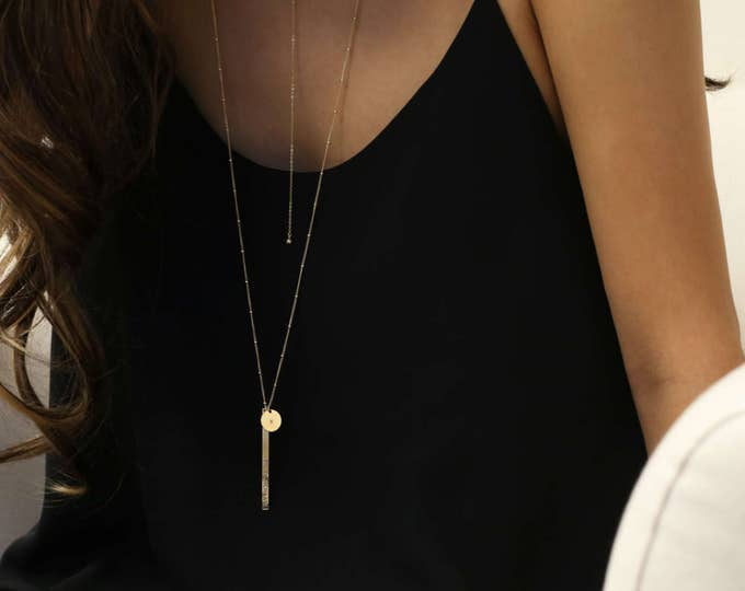 Personalized Vertical Bar Necklace and Initial Disc Long Necklace // Long Bar Necklace // E&E PROJECT