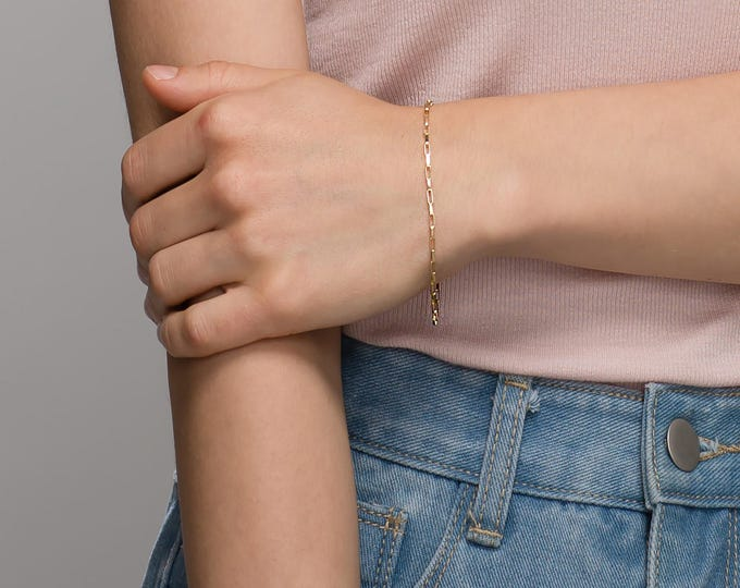 Gold chain bracelet / Everyday Box Chain Bracelet // Bracelet gift for her