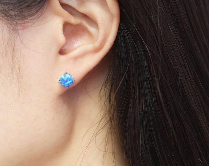 Opal Stud Earrings // 7mm Beautiful Opal earrings in Sterling silver // Stocking stuffer for her under 20