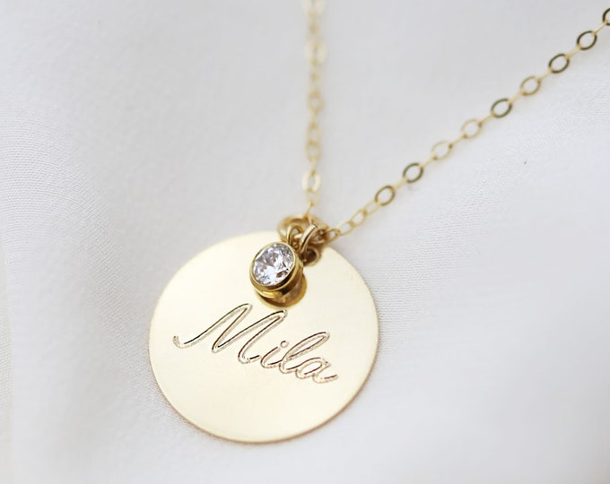Large Personalized Name Monogram Disk Necklace // Mother's day necklace gift // Custom Circle Necklace