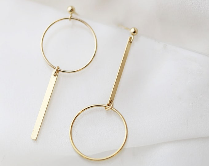 Unbalanced Gold Halo Hoop Bar Earrings  // Drop Dangle Earrings // Gold statement hoops // Perfect Gift for Her