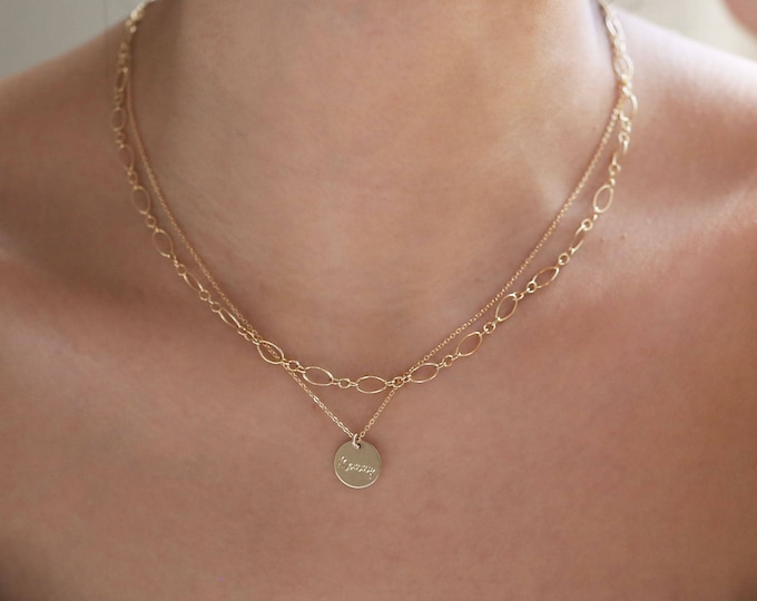 Dainty Chain Necklaces // round long and short halo chain necklace // Personalized Layered necklaces  // Chain choker jewelry