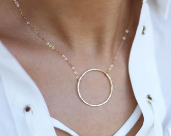 Gold Hammered Circle Necklace // Dainty Gold Open Circle Necklace