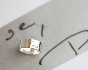 Actual handwriting band ring • Memorial jewelry  • Custom engraved ring  • Personalized signature ring  • Wedding gift for her