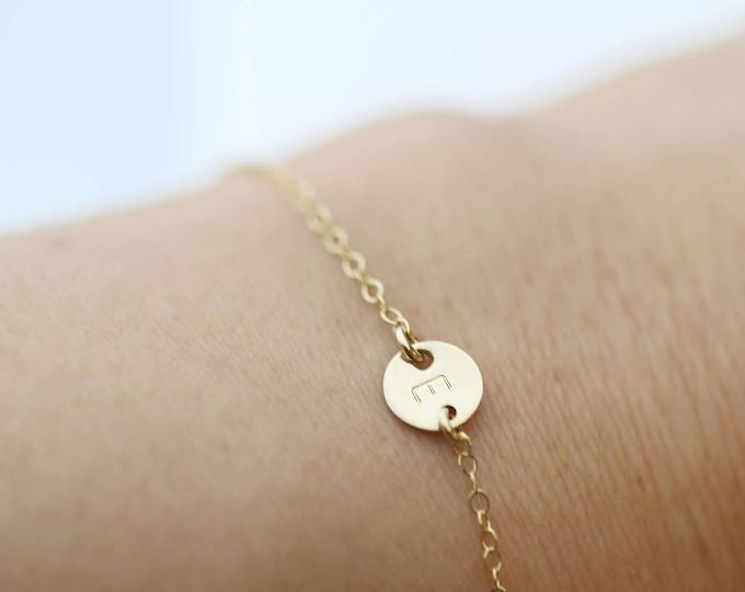 Customized Mini initial // Tiny gold coin disc bracelet , initial bracelet // personalized bracelet