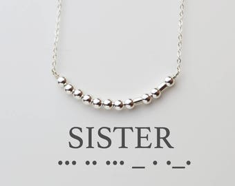 Sister Necklace // Morse code necklace // Personalized Secret code necklace / custom jewelry- Sisters, Bridesmaid personalized gifts for her