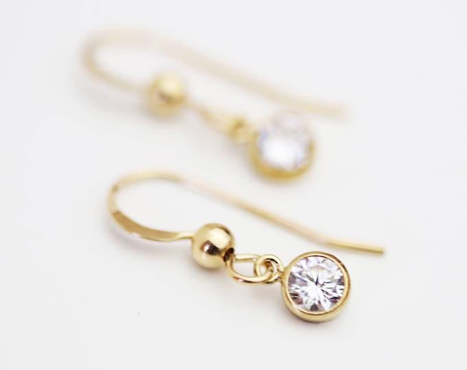 CZ Earrings / Simple diamond earrings / 14K Yellow Gold Filled and Sterling silver ,Bridal Cubic zirconia Earrings / CZ dangle Earrings,
