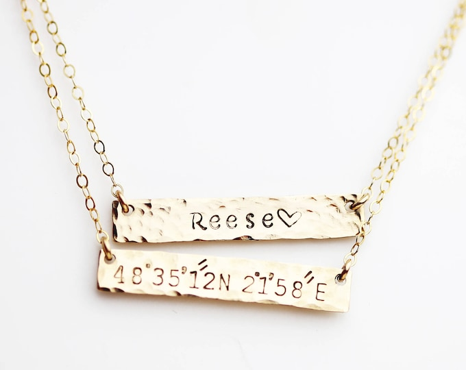 Personalized hammered nameplate necklace / custom name necklace in gold filled and sterling silver.personalized gifts for her holiday EP021H
