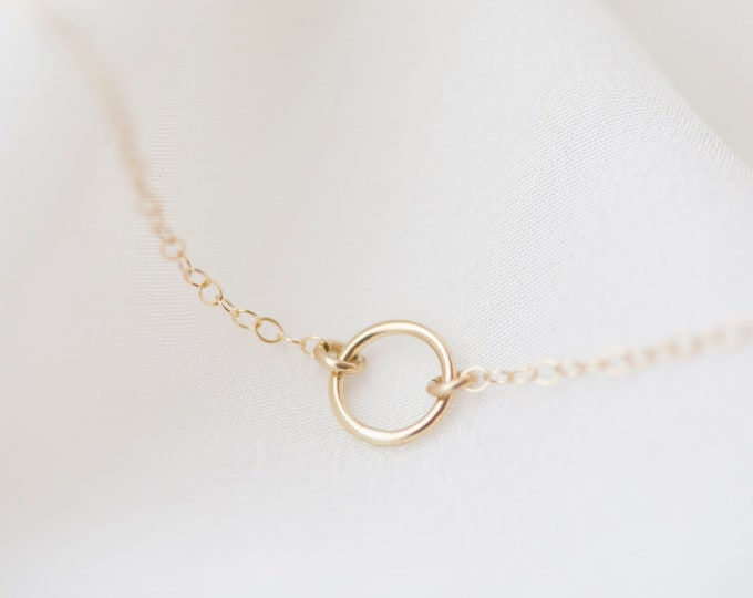 14K Gold Circle Necklace // 14K Halo Ring necklace in 14K solid gold Jewelry gift for her // 14K Solid by E&E PROJECT