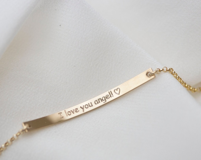 Bar bracelet with customized engraving / Personalized jewelry / Gift for her