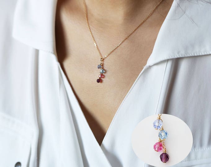 Birthstone Crystal Necklace // Birthstone necklace for mom // Birthstone necklace for grandma // Birthstone charm necklace
