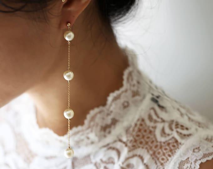 Pearl Drop Earring // Pearl Long Dangle Earring // Bridal earrings // Long chain earrings // June's birthstone: pearl