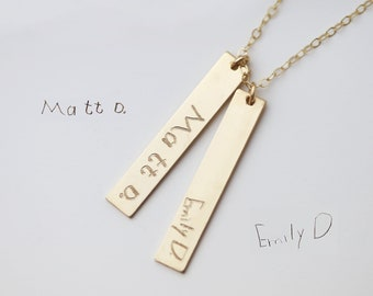 Handwriting bar necklace // Custom Children writing mom necklace // Personalized signature necklace