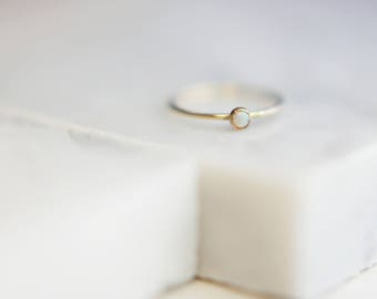 Tiny Opal Ring Gold Filled Ring // Stacking ring // Gemstone ring // October's Birthstone: Opal
