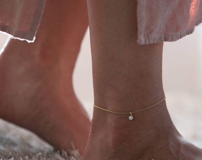 CZ Diamond Anklet //  Dainty chain Anklets with Cubic Zirconia // Simple Diamond Ankle Bracelets Gift for Her