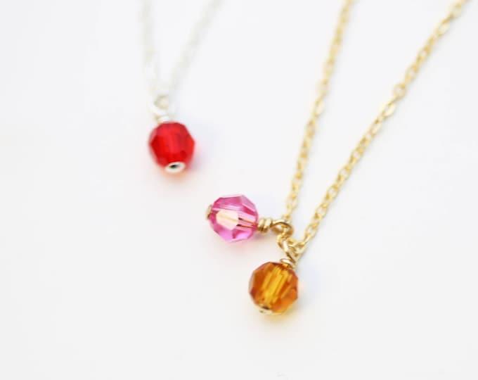 Birthstone Necklaces // Birthstone crystal mom necklace / mom necklace // Birthstone necklace for grandma // July's Birthstone: Ruby