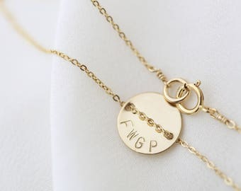 Personalized disc Name Bracelet - Gold filled /Sterling silver disc bracelet   EB013