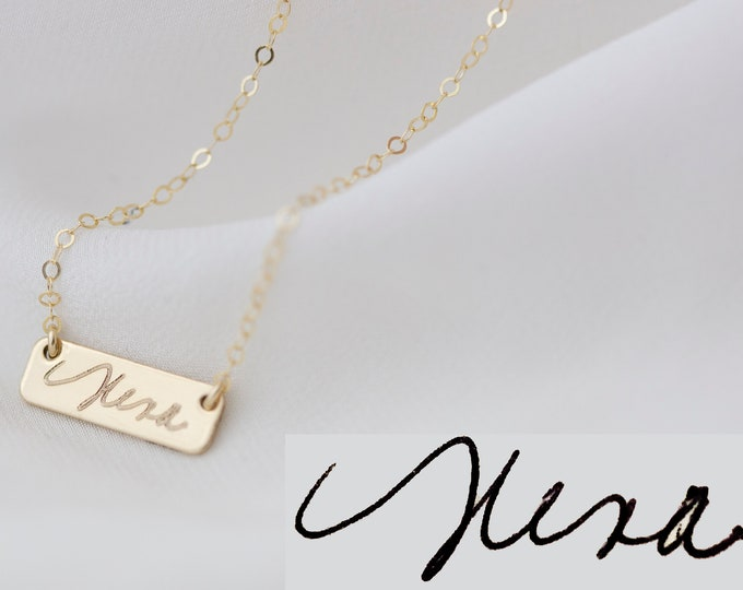 Gold Handwriting Bar Necklace // Personalized Signature Jewelry // Keepsake Jewelry // Actual Handwriting Necklace // Personalized Jewelry