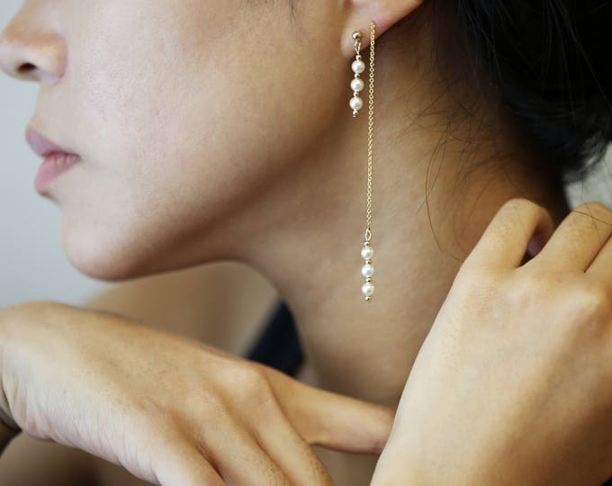 Pearl Dangle Threader earring and Studs // Bridal Earrings // Perfect Gift // Long Chain Earrings with Pearl // Studs with dangling Pearls