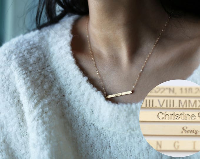 Bar necklace, Personalized skinny bar necklace, Monogram & Name Necklace, Gold and silver bar necklace, Christmas gift for her EANDEPROJECT