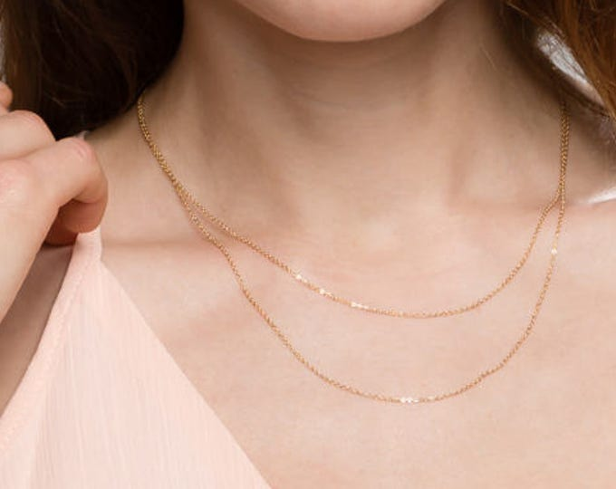 Dainty Double chain layered necklace //simple delicate thin wrap Chain Necklace in gold filled or sterling silver EN034