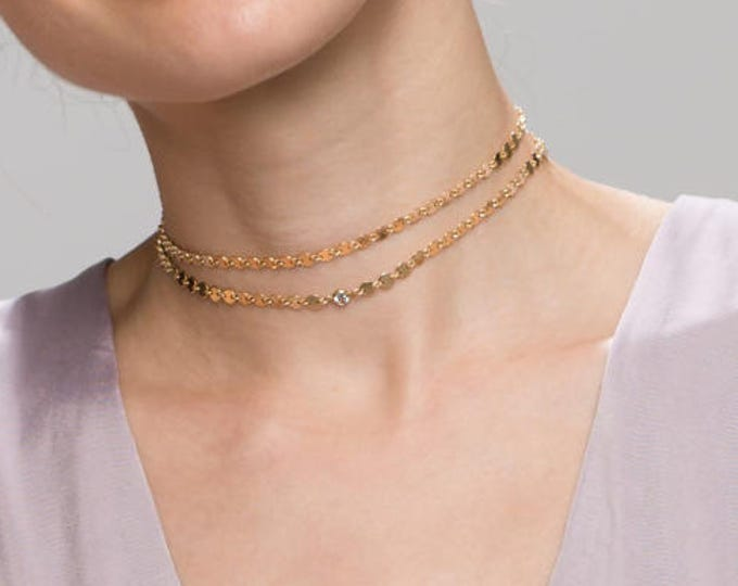 Coin Tattoo Choker with CZ  // Bohemian Choker Necklace //Dainty Necklace //EC9