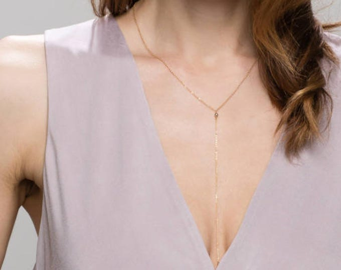Mini Ball Lariat Necklace - Sterling silver and Gold filled    EL012