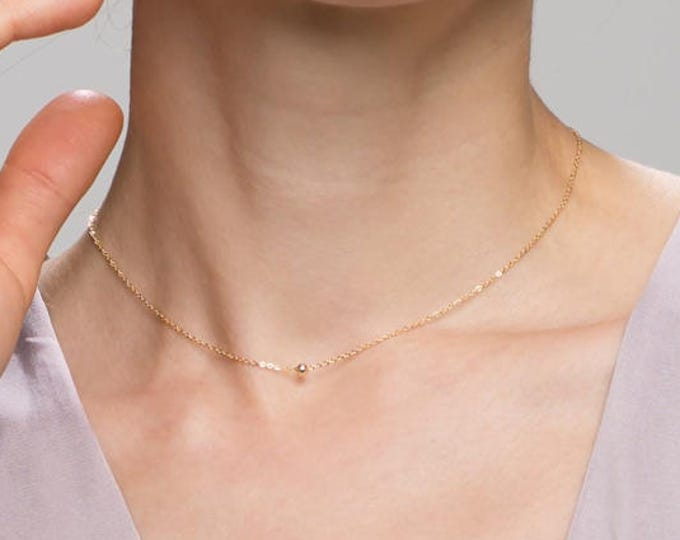 Tiny bead choker necklace - Minimalist simple ball necklace in Gold filled or Sterling silver / Gifts under 30 //EC13