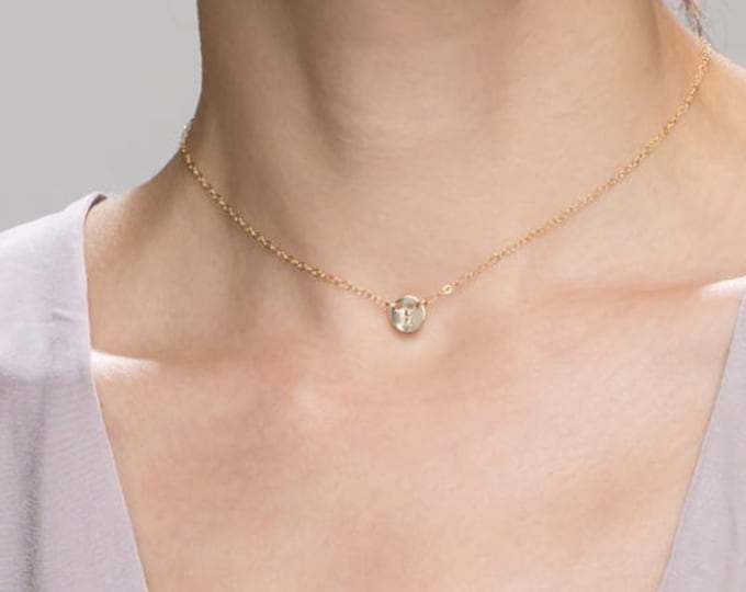 Initial Choker Necklace // Personalized necklace with initial letter coin disc in gold filled and sterling silver E&E PROJECT