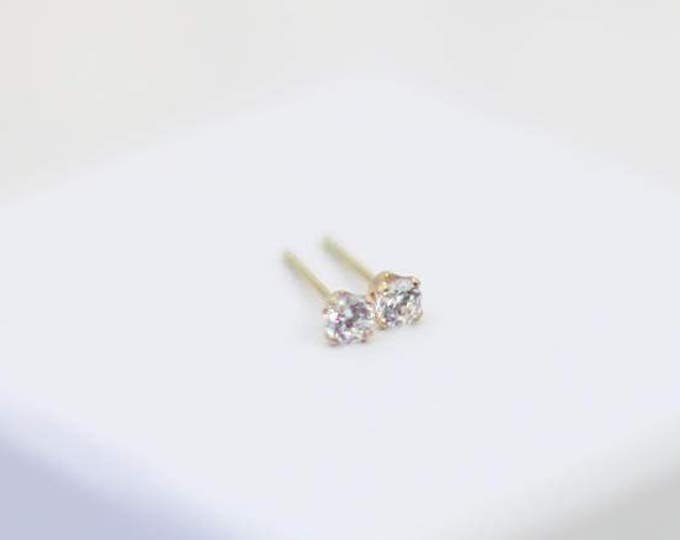 Diamond Cubic Zirconia Stud Earrings // 3mm Tiny CZ earrings in Gold filled and Sterling silver // Stocking stuffer for her under 20