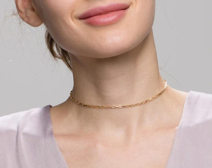 Box chain choker Necklace // delicate chain chokers // boho short necklaces in sterling silver and gold filled // elegant short necklace EC6