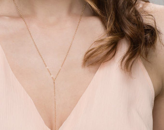 Simple Chain Lariat - Y necklace in 14K Gold filled or Sterling Silver   EL001