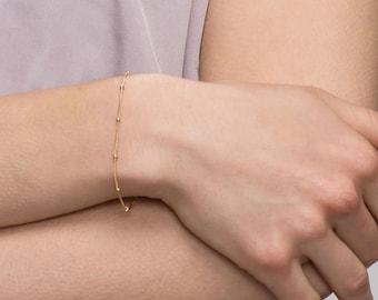 Dainty Bracelet - Thin bracelet . layering bracelet . dainty beaded bracelet . gold bracelet . Silver bracelet . Minimal jewelry   EB004