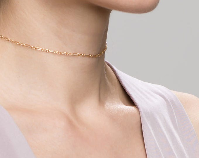 Dainty Halo Bar Chain Choker Necklace // short layering necklace // Simple dainty everyday necklace in gold filled and sterling silver EC2